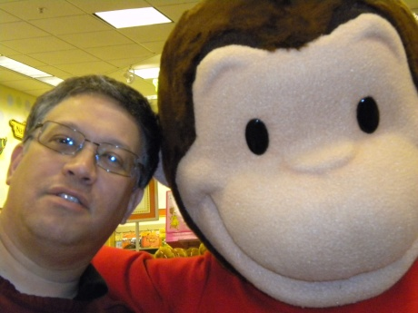 David Feiller and Curious George at Barnes & Noble, Minnetonka